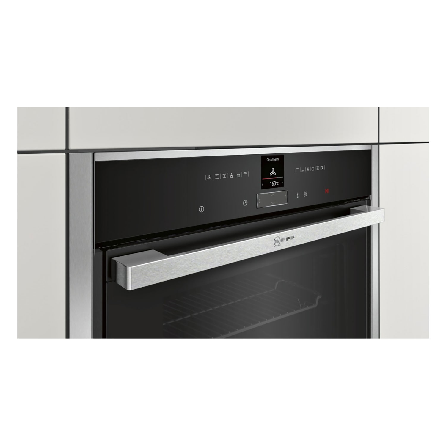 Neff Pyrolytic Slide & Hide Built In Electric Single Oven - Stainless Steel - 1